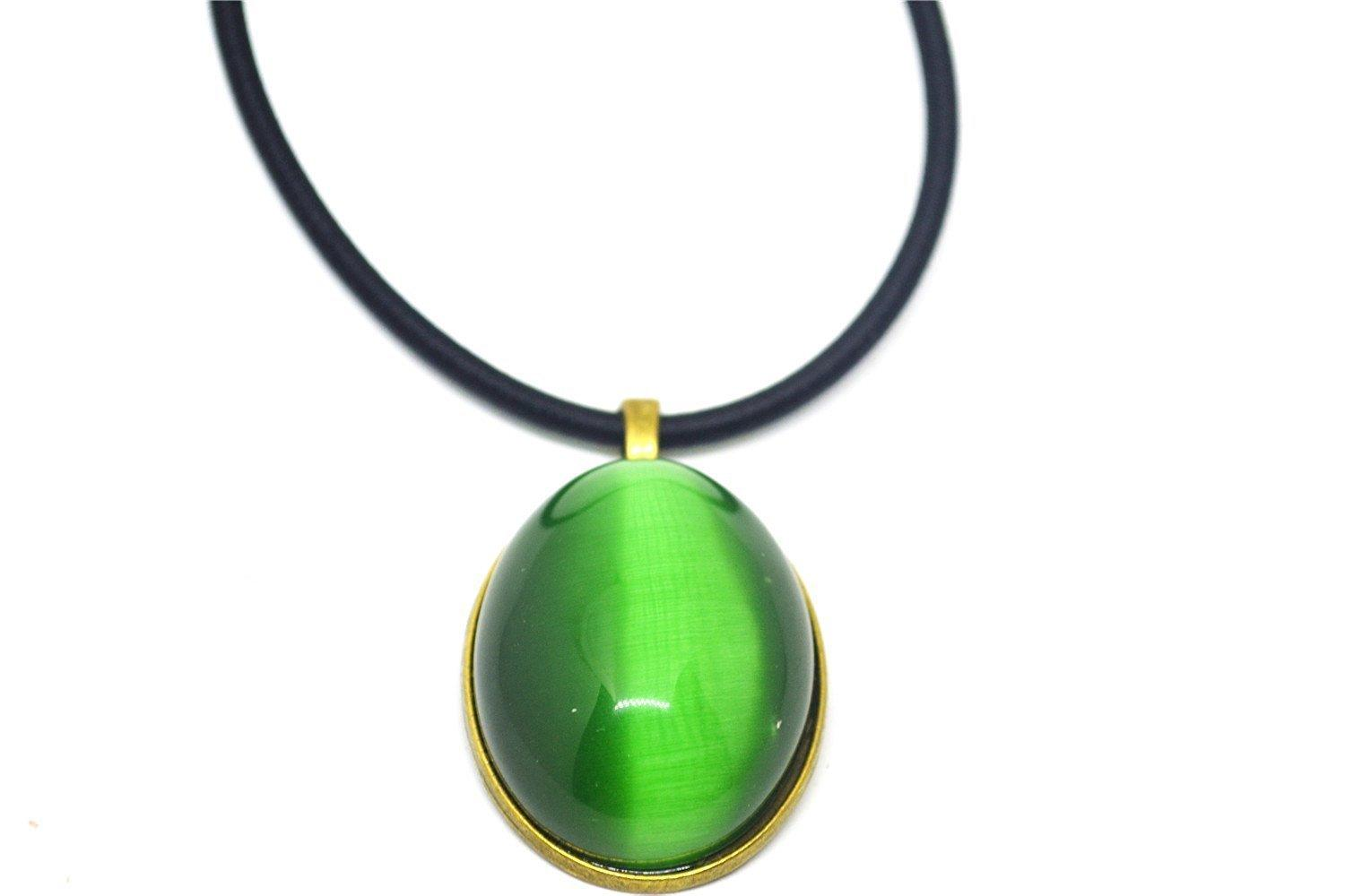 Vintage Oval Green Cat Eye Stone Pendant Rope Necklace Jewelry Gift Natural Gemstone Wholesale