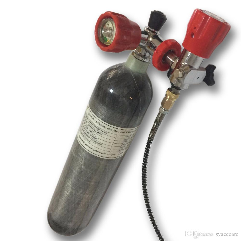 Acecare 2L PCP Paintball Tank 4500PSI Cilindro de fibra de carbono Buco de cilindro con la estación de llenado de válvula para los objetivos de tiro / caza Airsoft / Rifle