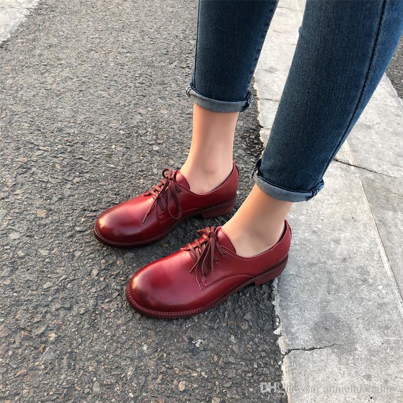 Британский стиль весна осень Женская обувь Классическая женская из натуральной кожи Derby Обувь ретро телячьей кожи Квартиры