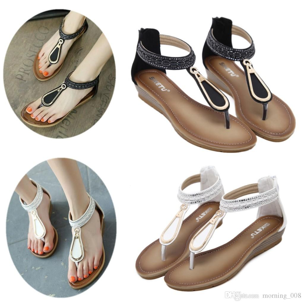 Womens Girls Roma strass Bohemia Sandali comodi zeppe scarpe infradito traspirante estate Clip Toe tacco basso spiaggia scarpa taglia US 4-11