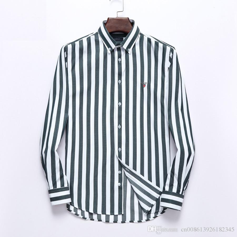 T-shirt Casual Homens listrados Shirts Luva longa dos homens Camisas de vestido de algodão shirt camisa dos homens Plus Size Slim Fit
