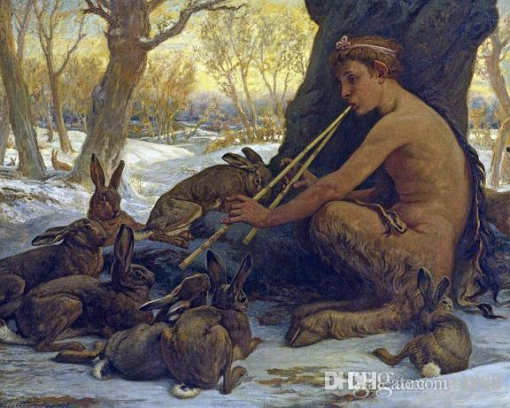 Elihu Vedder Marsyas Satyr Playing Music To Rabbits Handpainted & HD Print Art Oil Painting High Quality Canvas Home Wall Decor p109