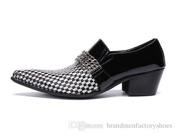 Scarpe in pelle Uomo Patchwork a scacchi in metallo con decorazioni a catena Altezza in aumento Scarpe in pelle Uomo vestito Chaussure in stile