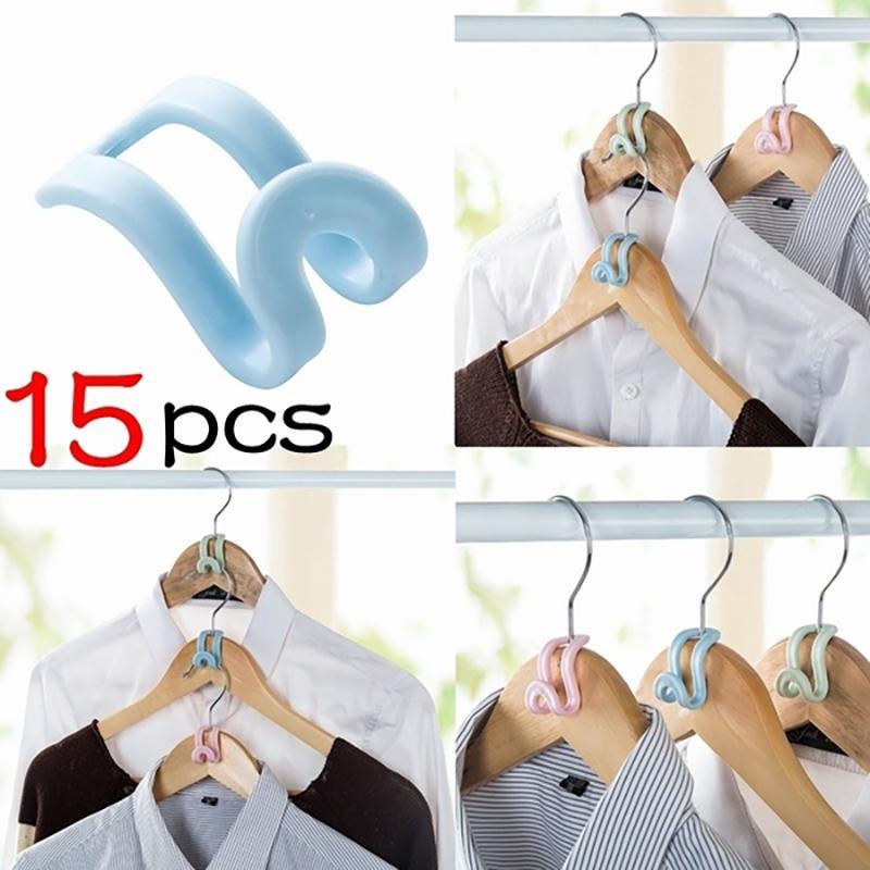3 color 15Pcs / Set de plástico multicapa gancho de la suspensión del hogar antideslizante Ropa Armario Percha fijo rompevientos hebilla