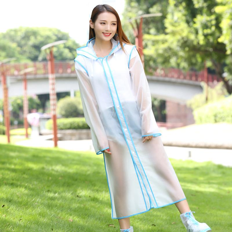 Hiking fashion raincoat scrub thickening transparent raincoat long paragraph single stripe men and women travel raincoat