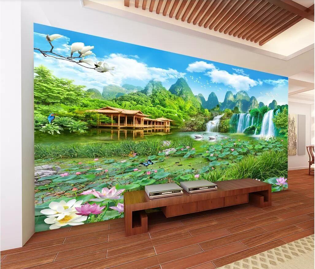 3d wallpaper foto personalizzata murale Paesaggio gigante fairyland Zhulou Cascata 3D paesaggio sfondo muro paesaggio 3d home improvement