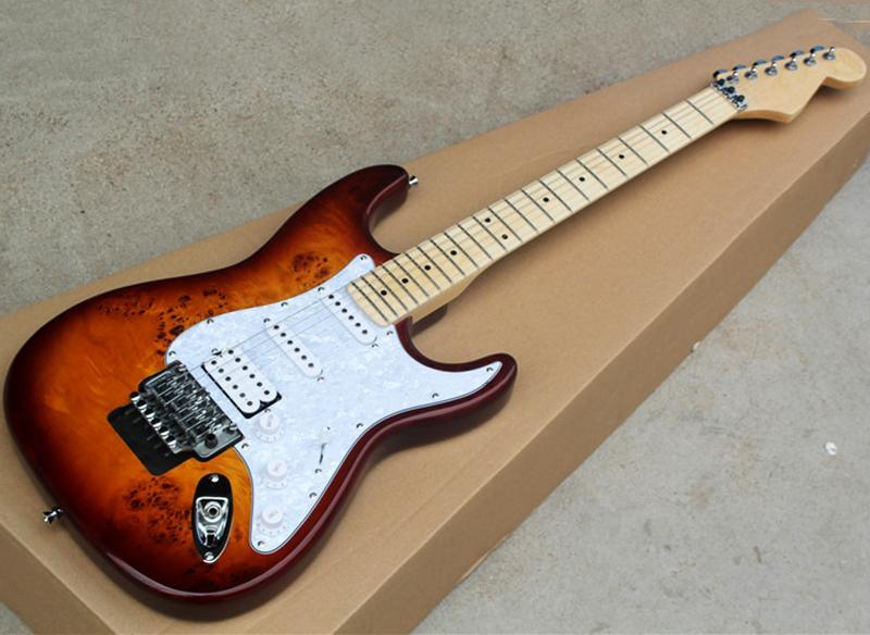 Brown guitarra eléctrica con la corteza del grano de chapa de madera, blanco perlado golpeador, SSH Pastillas, Floyd Rose, arce diapasón, se puede personalizar como Solicitud