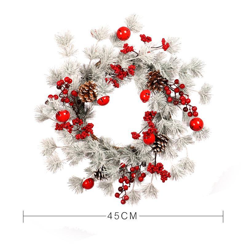 Pin blanc collant Noël aiguille Cloche Pinecone couronne fruits rouges décoratifs Accueil Hôtel Showcase Mall décoratifs Porte Hanging
