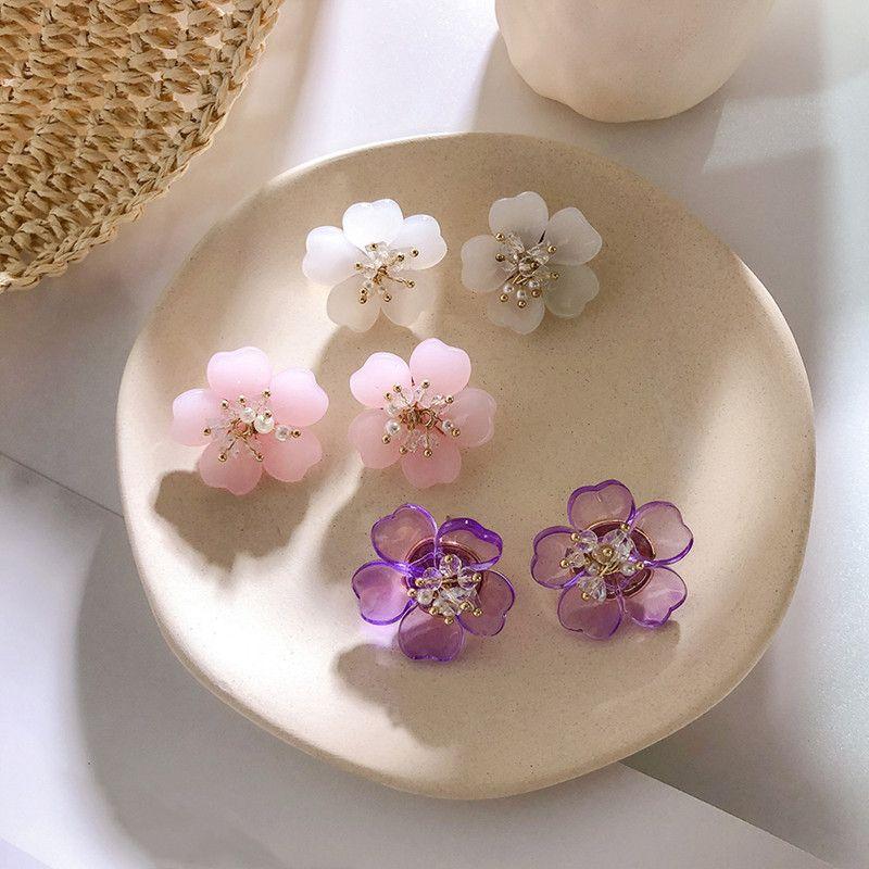 Hakim 2019 moda Akrilik çiçek tatlı zarif mizaç kristal inci çiçek Kadınlar Bırak küpe