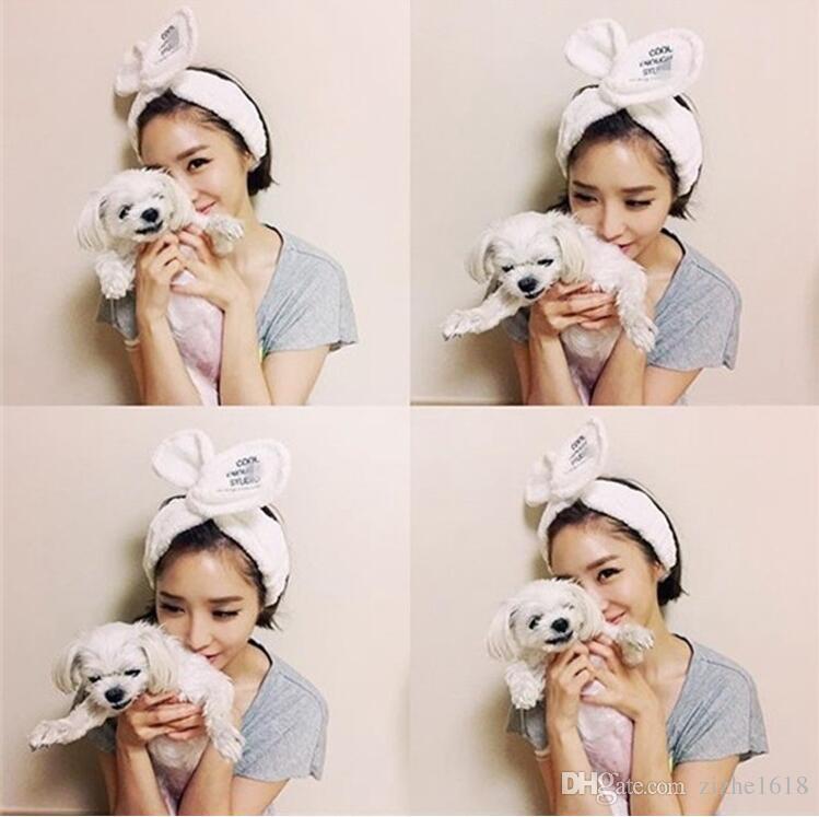 6 color hair lead headband rabbit bunny girl cute plush woman makeup shampoo adjustable fashion ladies popular sports yoga leisure wholesale