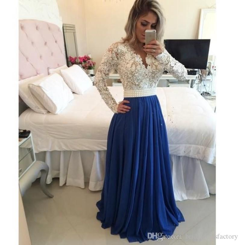 discount in stock party prom gown long sleeves handmade beading pearls belt white lace and blue chiffon cheap evening dresses