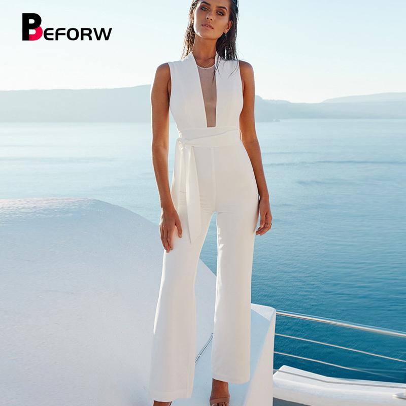 Beforw 2019 Women Sexy Sleeveless V Neck Lace Up Wide Leg Long Jumpsuit Overalls Body Suit White Causal Rompers Macacao Feminino Q190521
