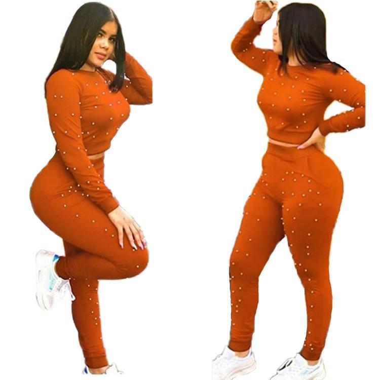 2018 Kış Eşofman tulumları Sonbahar İnci Kazak + pantolon Spor Moda Seksi Kadın Seti İki adet Casual N9065 Takımları