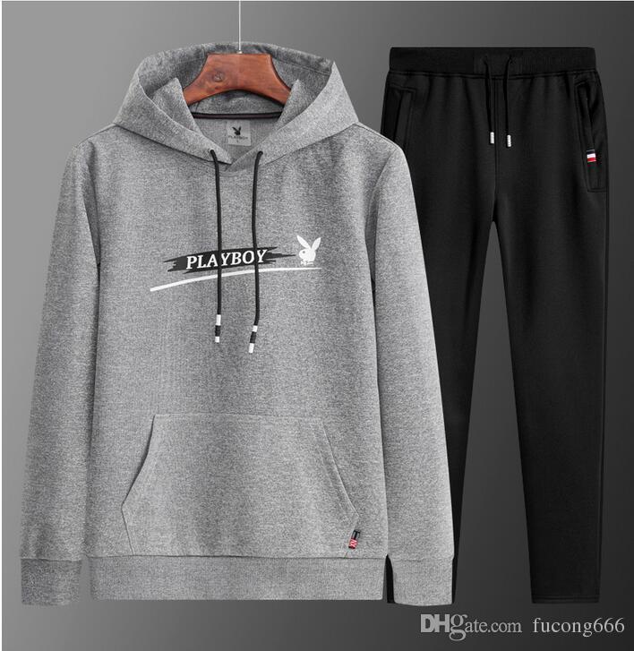 O envio gratuito de homens camisola terno dos homens 2018 inverno novo além de sportswear de veludo de duas peças de esportes dos homens correndo roupas