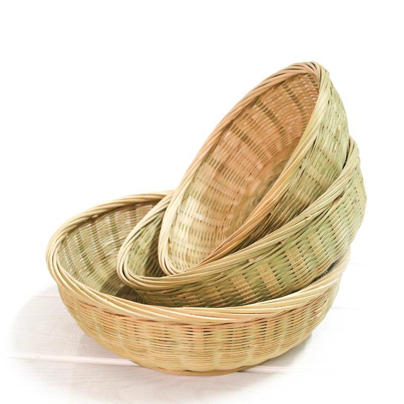 Piatto di frutta cesto intrecciato a mano rotonde articoli vari alimentari cava decorazione cucina deposito casa riorganizzazione biodegradabile eco friendly