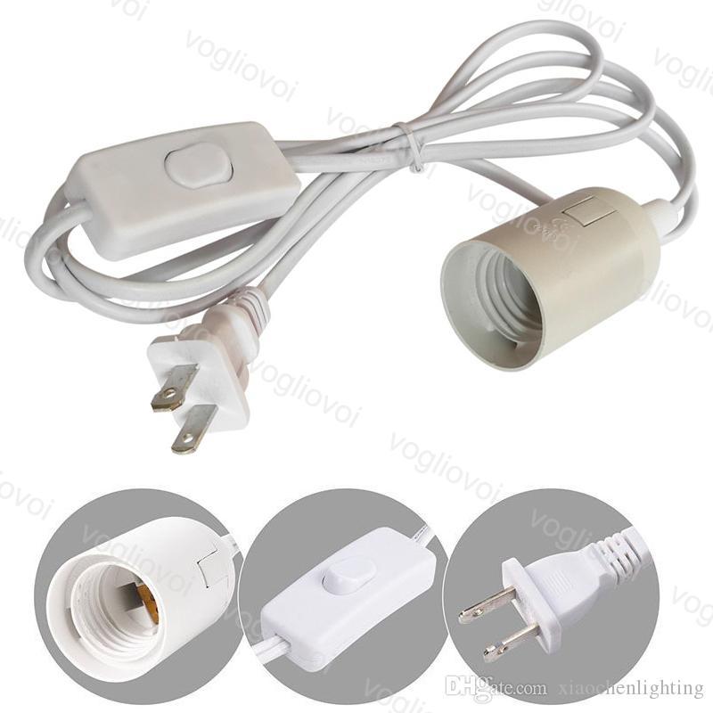 Cabo de alimentação 1.8M E27 Lamp Bases rodada plug-nos Com comutação fio Para Chandelier Bulb suporte da lâmpada 85-265V penduradas luz soquete DHL