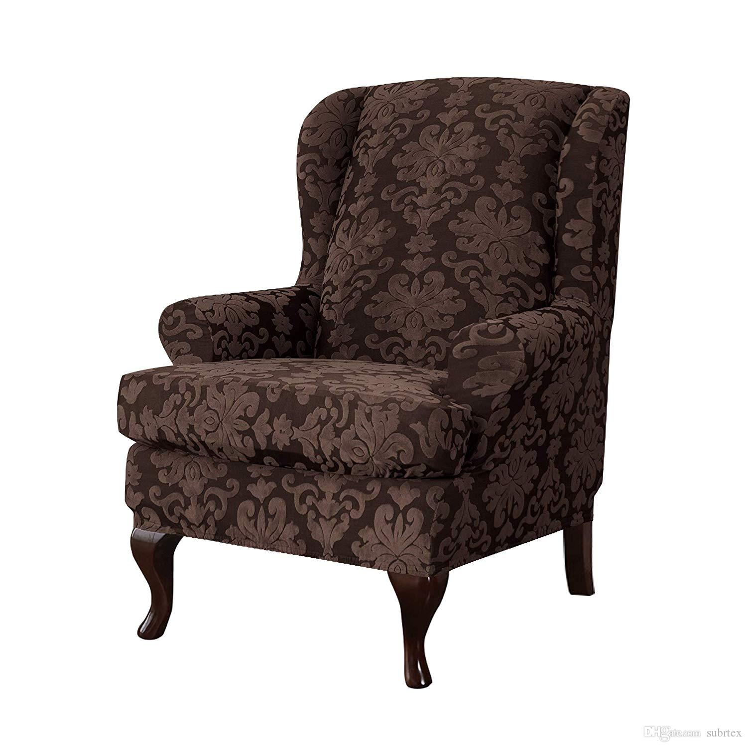Surprising Subrtex Elegant Jacquard Wing Chair Slipcovers Wing Back Wingback Chair Cover Covers Wing Chair Chocolate Dining Room Chair Seat Cover Large Chair Pdpeps Interior Chair Design Pdpepsorg
