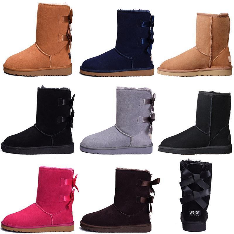 Женщин конструктора зимы снег сапоги Мода Австралия Классический короткий лук сапоги голеностопного Колено лук девушка MINI Bailey ботинок 2019 РАЗМЕР 35-409d25 #