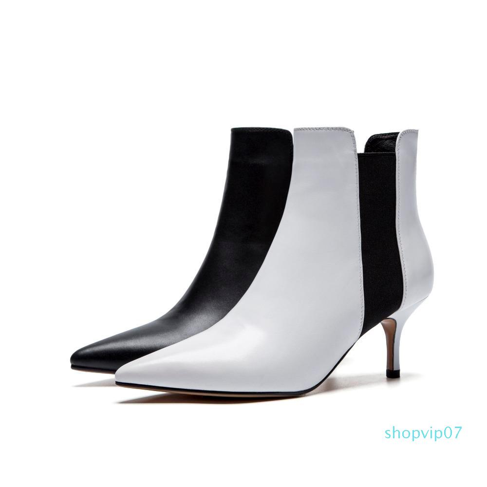 scarpe da donna di modo di vendita-Arden calda Furtad inverno bianco 2019 stiletti punta a punta tacco stivali delle donne concise maturano Office Lady