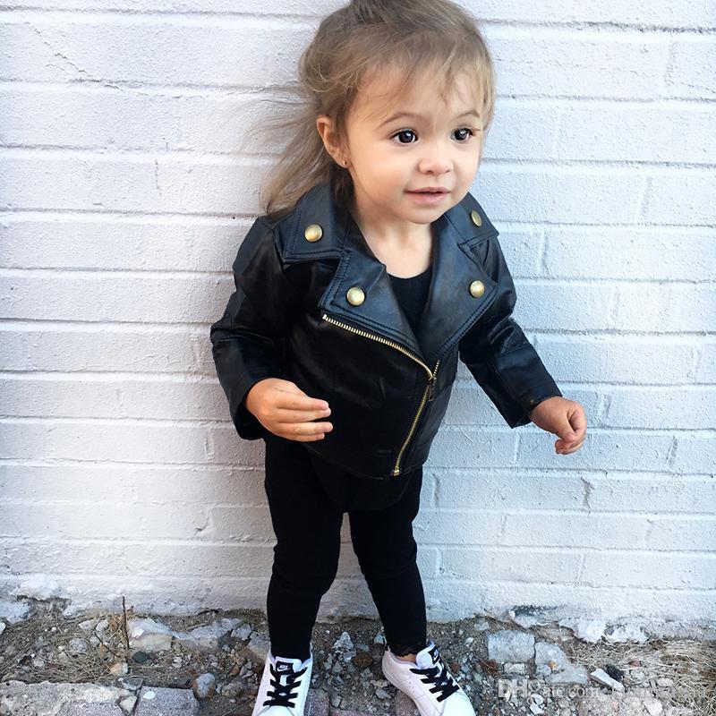 Moda Otoño Invierno del niño embroma la ropa del muchacho de la PU chaqueta de cuero del motorista Escudo Negro Abrigo largo de la manga Outwear
