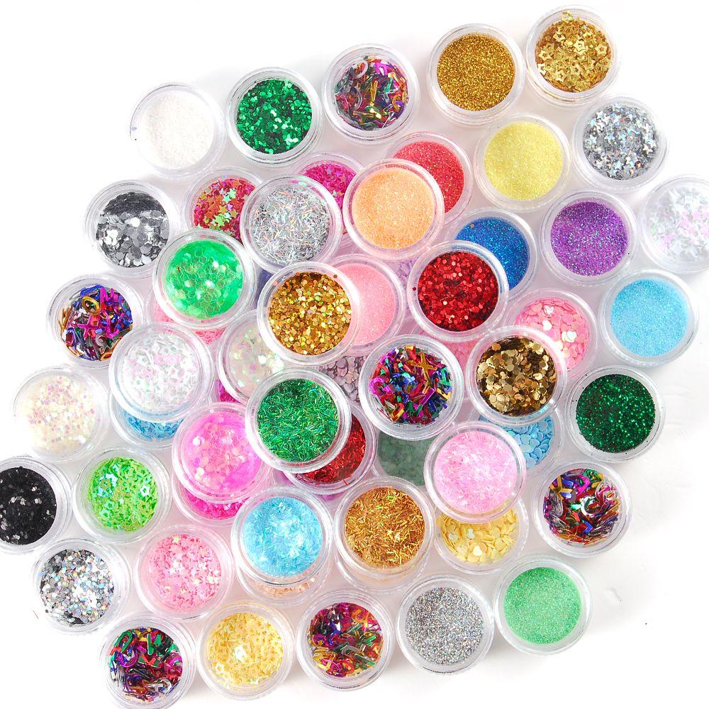 Jumbo Set 60 tencere Glitter 5 Stiller Paillette Nokta Dilim Tırnak Glitter Ultra ince Lazer Glitter Shell Pudra Manikür Nail Art İpuçları Dekorasyon