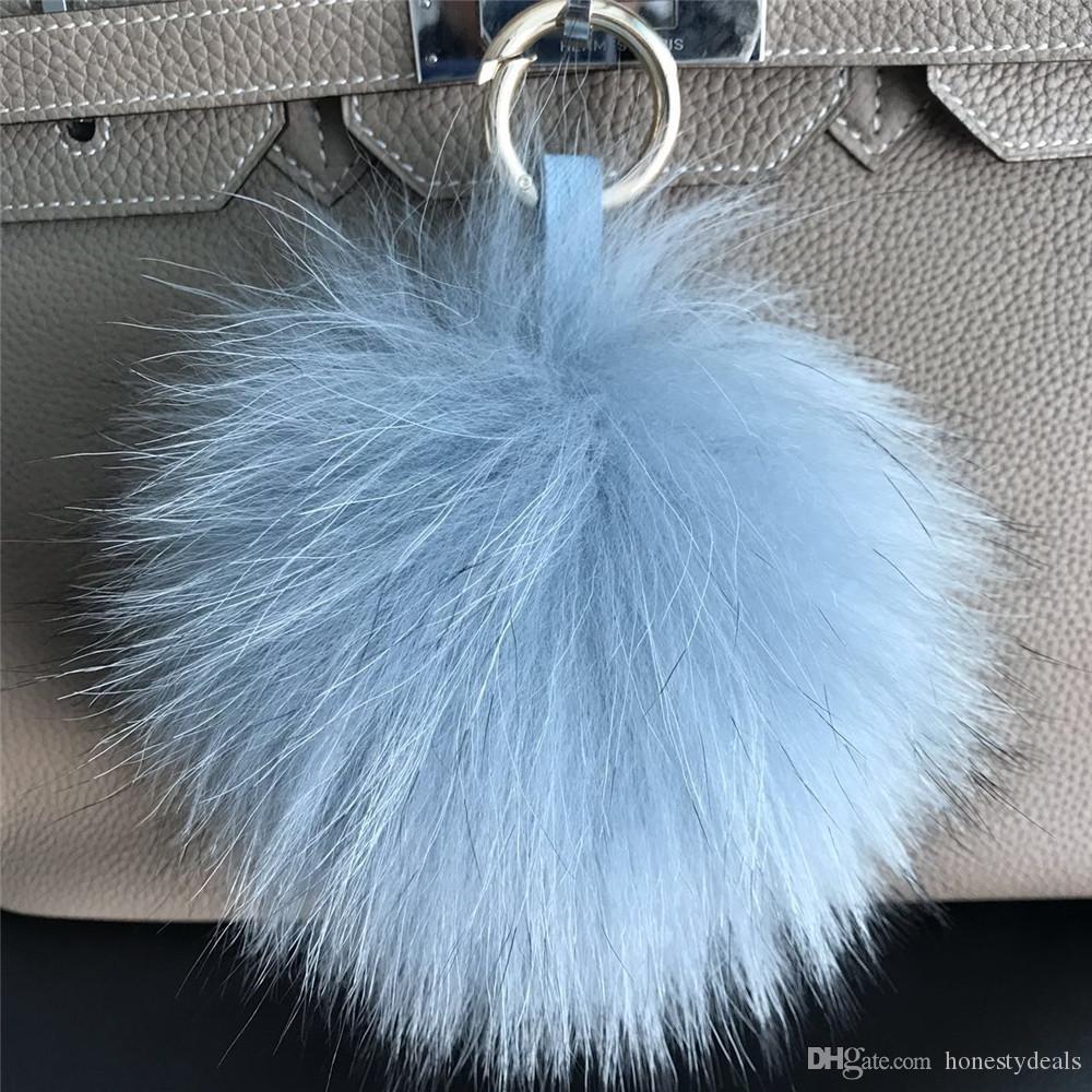 4 DIY Faux Fur Pom Pom balls l for key chain phone car handbag charm