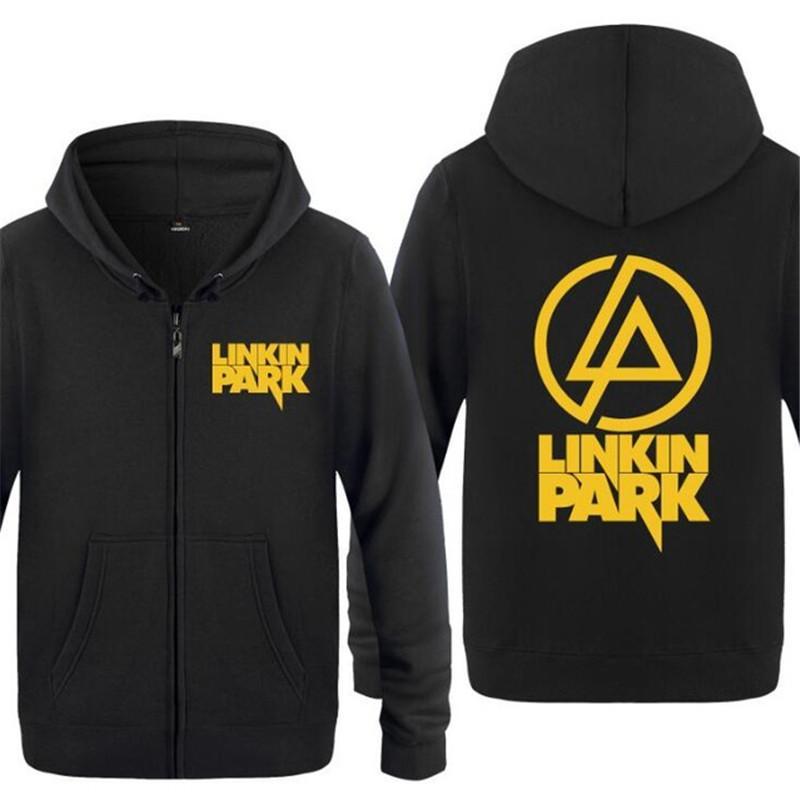 Para hombre con capucha rock Linkin Park Imprimir Fleece Sudaderas Hombre de manga larga con capucha de la cremallera chaqueta de la capa de Hip Hop del patín del chándal del tamaño grande