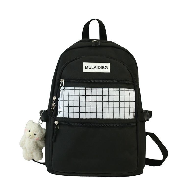 Девочки-подростки Рюкзак ранцы Женщины Нейлон Black Plaid High School Student Bagpack College Back Pack Повседневный 2020 Летний Новый