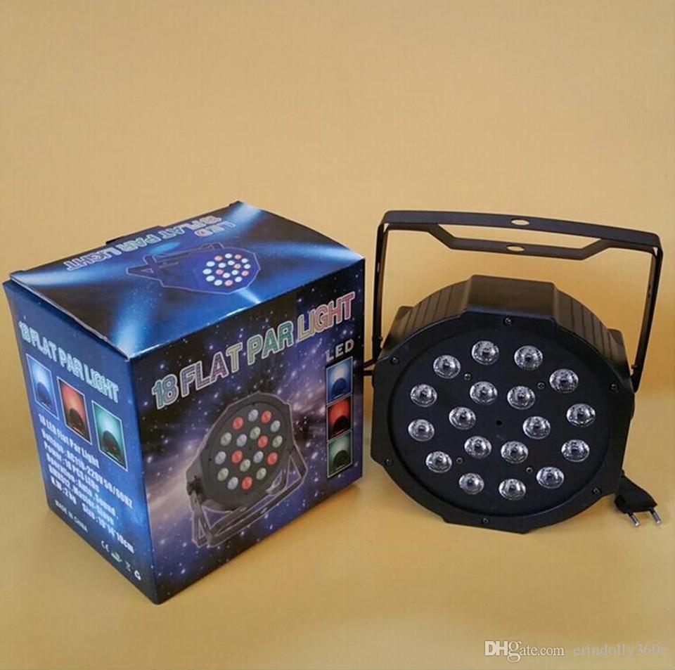 LED Par light 18x3W 54W High Power RGB / UV Par Light Con DMX512 Master Slave Led Flat DJ Equipments Controller