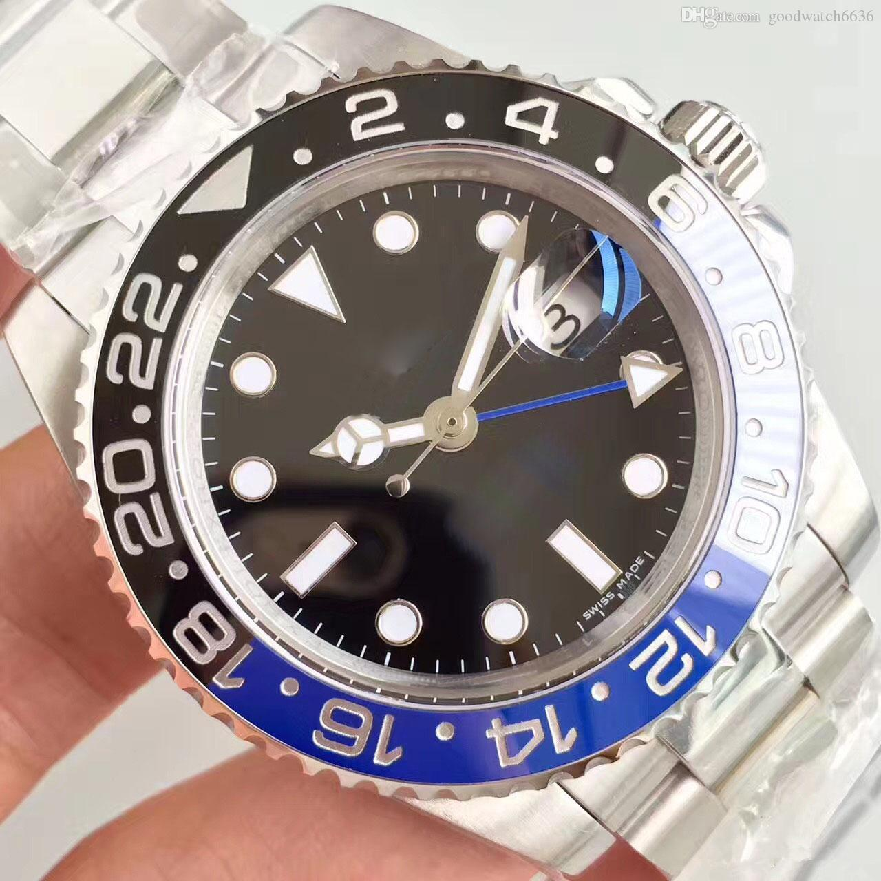 Moda Yeni GMT Seramik Bezel Erkek Mekanik Paslanmaz Çelik Otomatik 2813 Hareket İzle Erkekler Spor batman Kol saatı