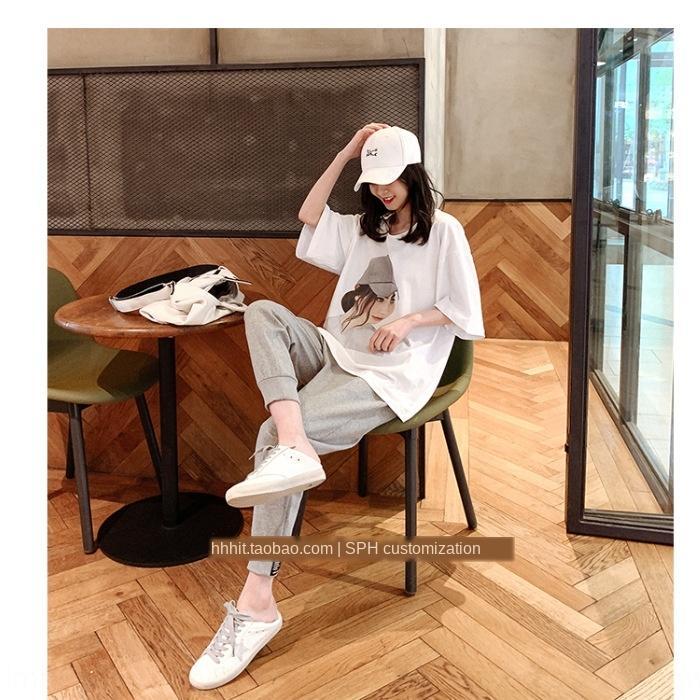 HgOQi iKF5t Повседневный костюм для брюк 2020 новых летней корейской Повседневной одежды с короткими рукавами спортивного pantsstyle женщин футболка девять пунктами спортивных брюки Tw