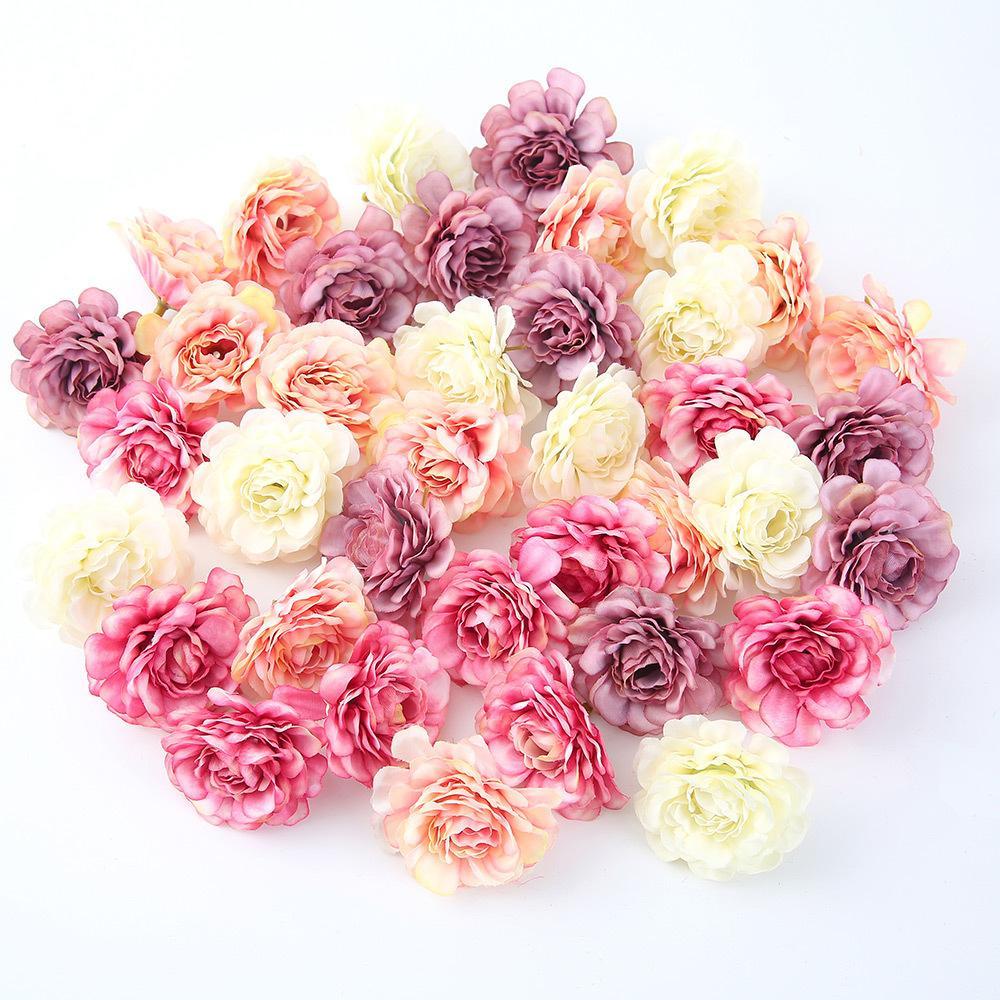 10 unids / lote Flor Artificial 5 cm Primavera Seda Rosa Cabeza para el banquete de boda Decoración Del Hogar Diy Guirnalda Caja de Regalo Scrapbook Craft