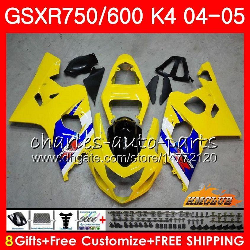 Karosserie Für SUZUKI GSXR 750 GSX R750 GSX-R600 GSXR600 04 05 7HC.14 GSXR-750 hellgelb GSXR 600 04 05 K4 GSXR750 2004 2005 Verkleidungsset