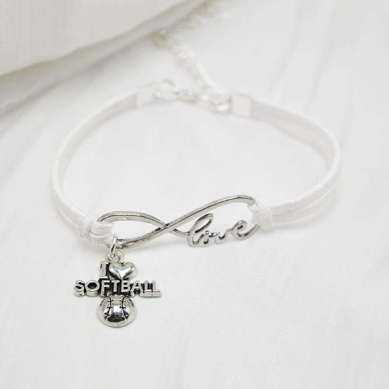 2019 Fashion White Leather Suede Bracelets Europe Explosion Infinity Love Softball Pendant Jewelry Retro Women Men Unisex Bangles Fine Gifts