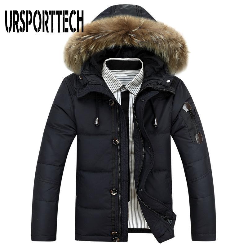 2019 Новая марка Зимняя куртка Мужчины Большой размер 3XL 4XL Real меховой воротник с капюшоном Белая утка вниз куртки Толстые пуховики Мужчины Теплые пальто