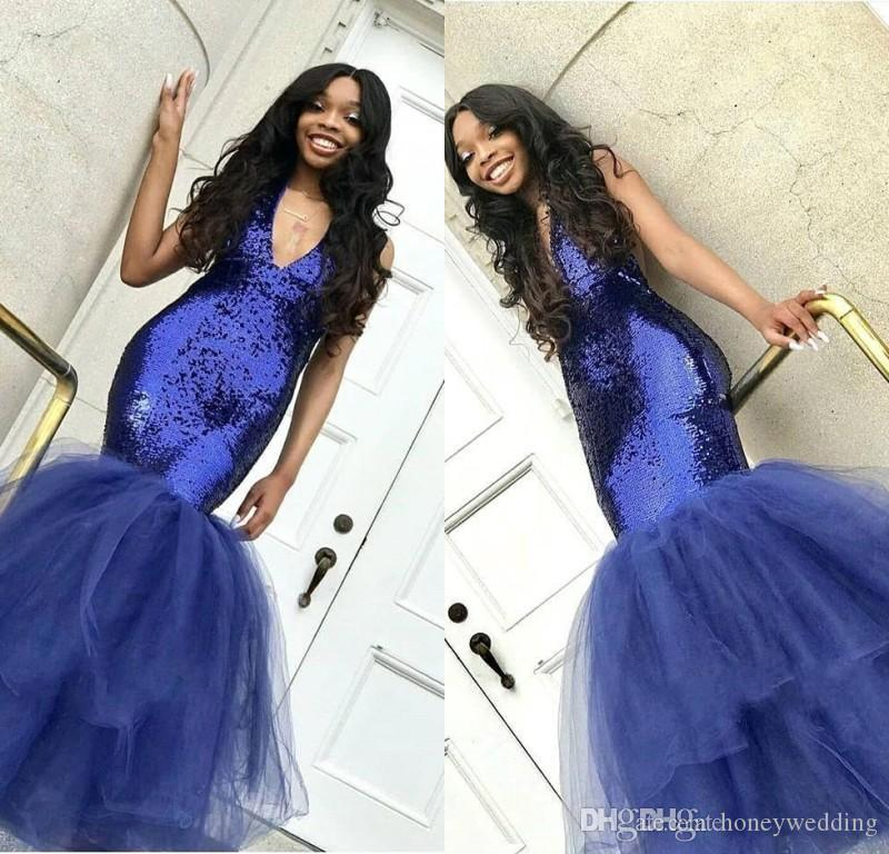 Azul Royal 2019 Sparkly Sereia Lantejoulas Vestidos de Baile Profundo Decote Em V Tule Até O Chão Puffy Equipado Prom Vestidos Mulheres Vestido de Festa À Noite