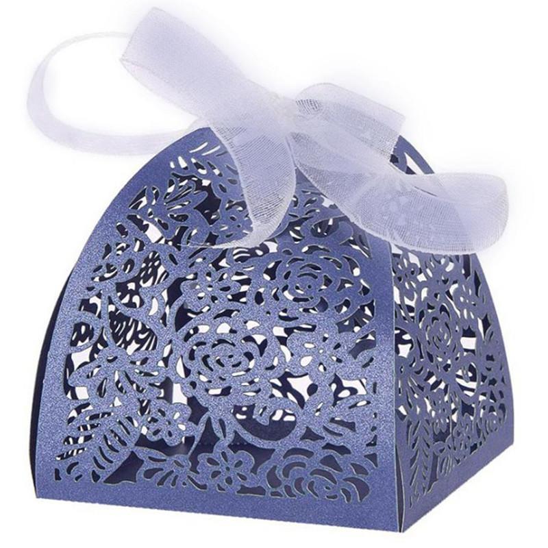 50/100 개 레이저 컷 꽃 웨딩 Dragee 사탕 상자 결혼 선물 호의 및 선물 데코 Mariage 초콜릿 상자