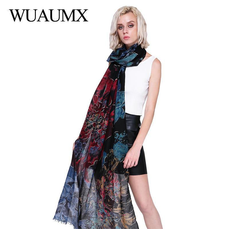 Wuaumx Foulard Femme Outono Inverno Cachecol Mulheres Grande cópia floral Chefe Cachecóis Hijab Lenços Feminino Algodão Linho xales e Wraps