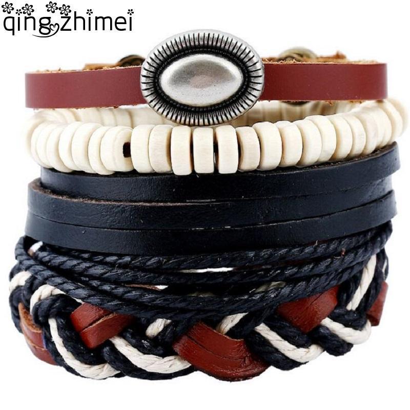 Nuevo 4 en 1 de pulseras de cuero de la vendimia hombres cáscaras de coco perlas joyas pulsera simple economía Negro cera para las mujeres dropshipping