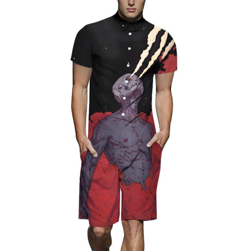 Jumpsuit Men Summer Short Sleeve Romper Punk Print Cotton One Piece Overalls Playsuits Casual Pants Male Set Outfit Clothes 2019