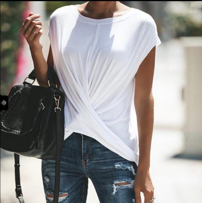 Casual Sólidos roupas femininas Cruz drapeado Designer Tees verão camisetas para as Mulheres