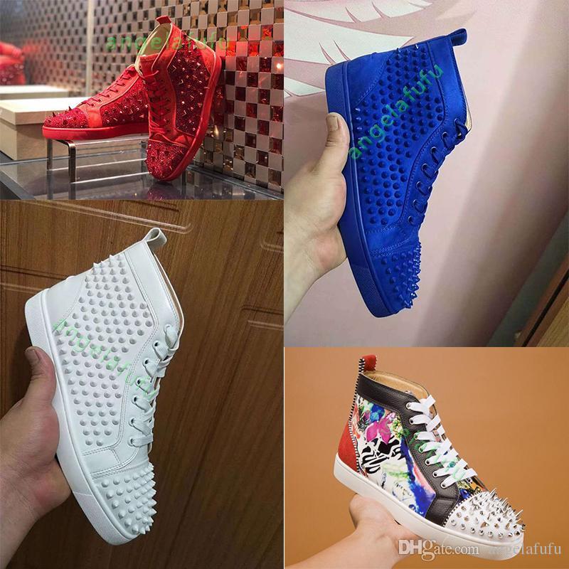 New inferior é Vermelho Studded Spikes Flats sapato de alta qualidade para Sneakers amantes Mulheres partido dos homens de couro genuíno sapatos casuais 35-47