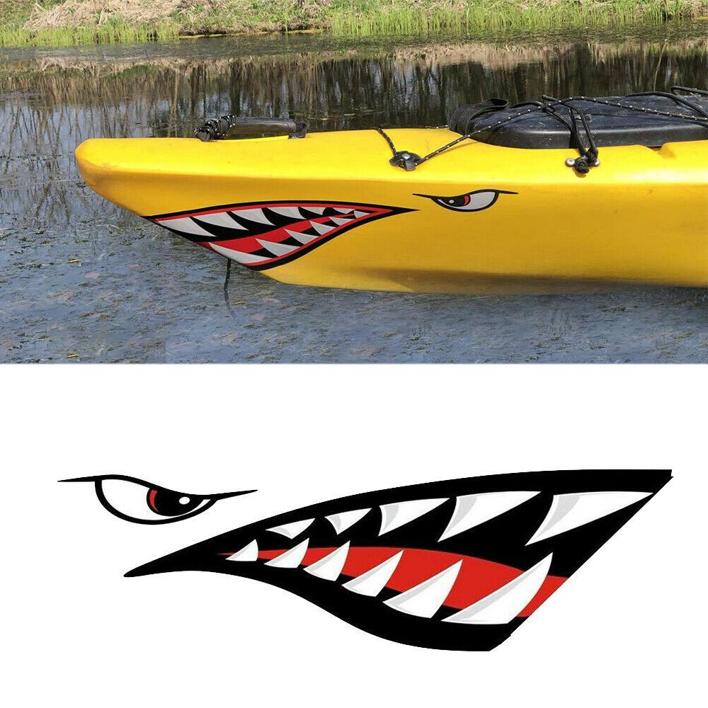 2Pcs Shark Tooth Mouth Kayak Boat Car Aircraft Sticker Graphics Decal Waterproof