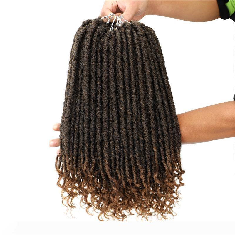 Goddess Hair 16 inch Ombre Faux Locs Curly Crochet Braids Soft Natural Braid Synthetic Braiding Hair