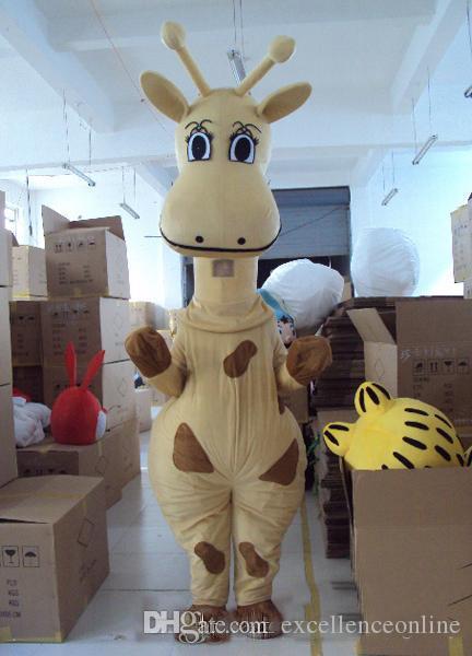 Il costume giallo del personaggio dei cartoni animati del costume della mascotte della giraffa di vendita calda 2019 libera il trasporto