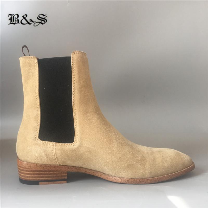 Calle Negro 100% cuero real del ajuste delgado de las nuevas botas de imagen real de los hombres de cuña botas altas de cuero