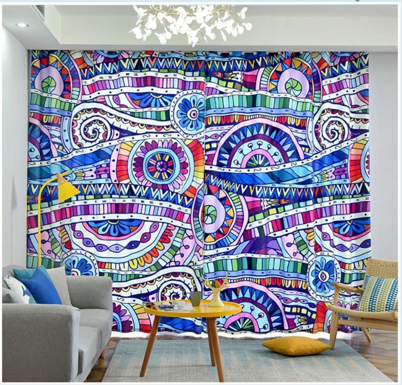 3d Cortinas nuevas cortinas patrones abstractos clásicos americanos creativa personalizada salón dormitorio cortinas opacas Europea y