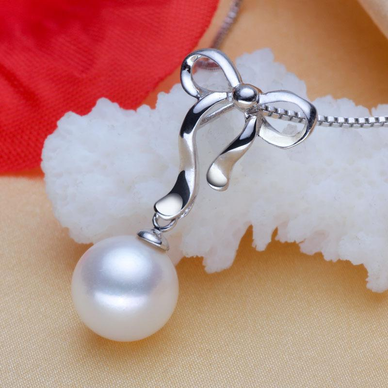 ASHIQI 100% 925 Sterling Silver necklaces pendants pearl Perfectly Round Freshwater Pearl Necklace women New fashion jewelry
