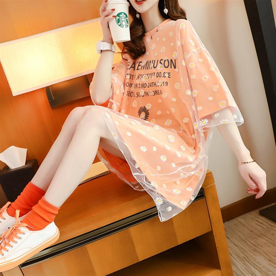 Moyen et long couture T-shirt manches courtes pour femmes 2020 ans réduction Xia Yang Qi tissu maille haut tissu maille T-shirt Daisy