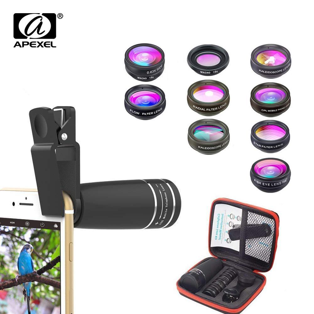 Toptan 10 1 Cep telefonu Lens Telefoto Balıkgözü lens Geniş Açı Makro Lens + CPL / Akış / Radyal / Yıldız tüm akıllı telefonlar için Filtre